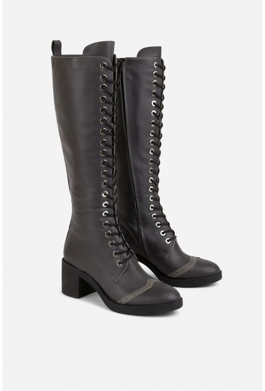 Чоботи темно-сірі з шнурівкою і блискавкою /5 см/