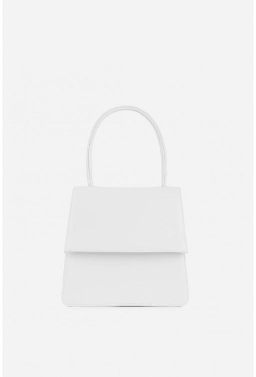 Портфель Linda micro  з білої гладкої шкіри /срібло/