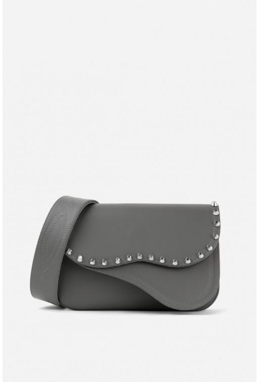 Кросбаді Saddle bag Studs з сірої гладкої шкіри /срібло/