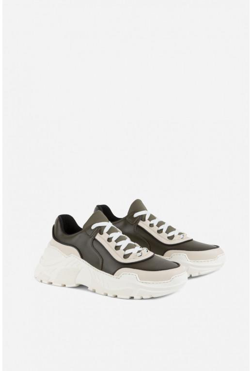 Кросівки комбіновані  оливково-бежеві шкіряні