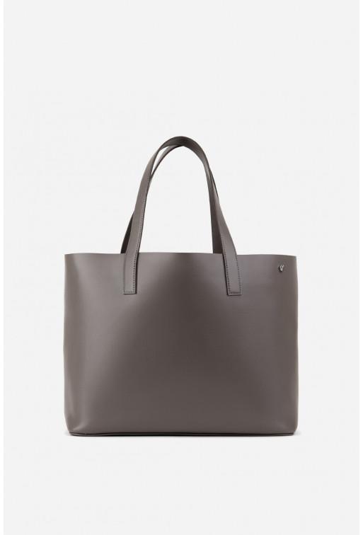SHOPPER BAG з сірої гладкої шкіри /срібло/