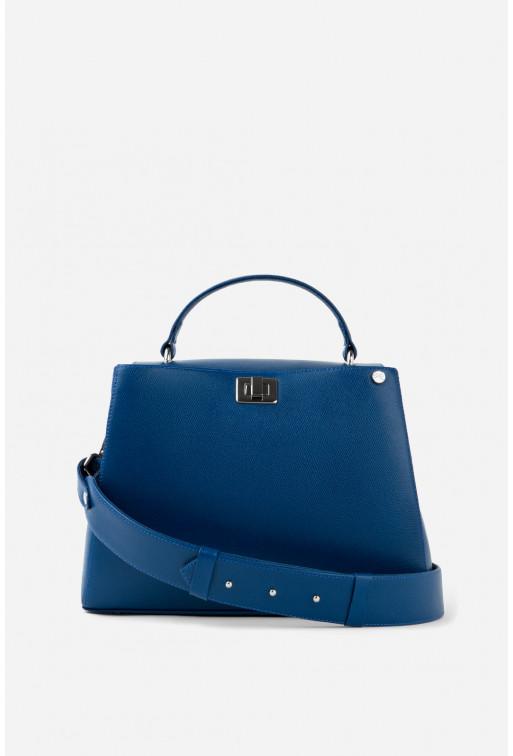 Портфель ERNA з синьої фактурної шкіри /срібло/