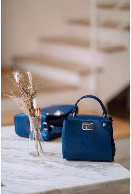 Портфель ERNA MICRO з синьої фактурної шкіри /срібло/