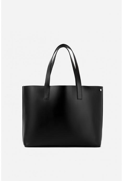 SHOPPER BAG з чорної гладкої шкіри /срібло/