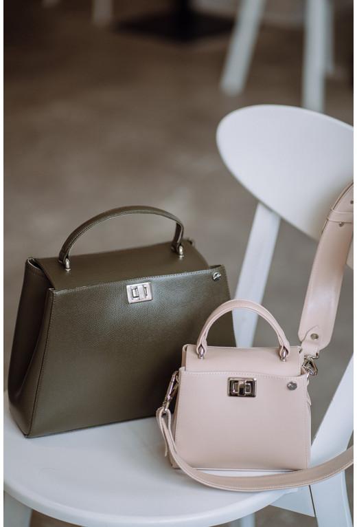 Портфель ERNA з фактурної шкіри кольору хакі /срібло/