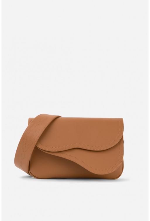 Кросбаді Saddle bag 2 з коричневої гладкої шкіри /срібло/