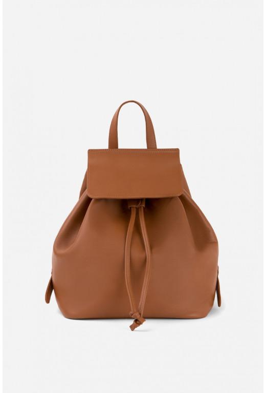 Рюкзак коричневий шкіряний /срібло/