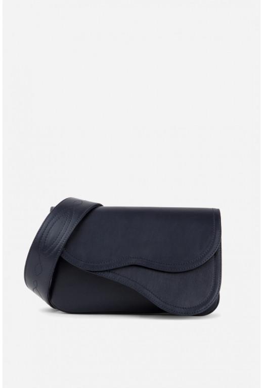 Кросбаді Saddle bag 2  з темно-синьої гладкої шкіри /срібло/
