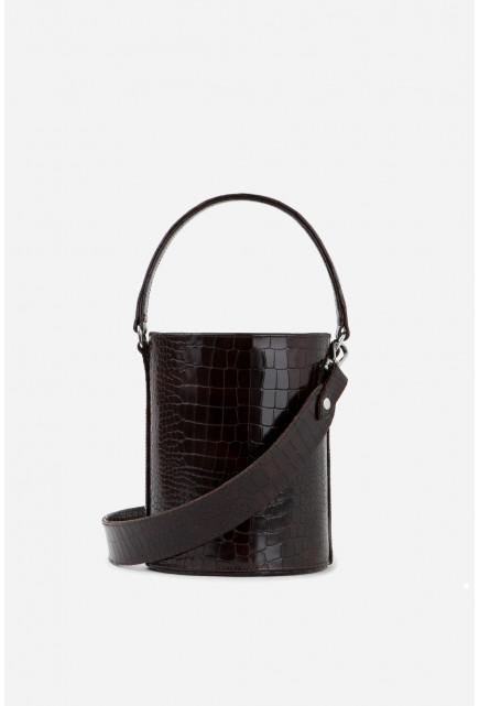 BUCKET BAG з тисненням під рептилію  коричнево-бордова /срібло/