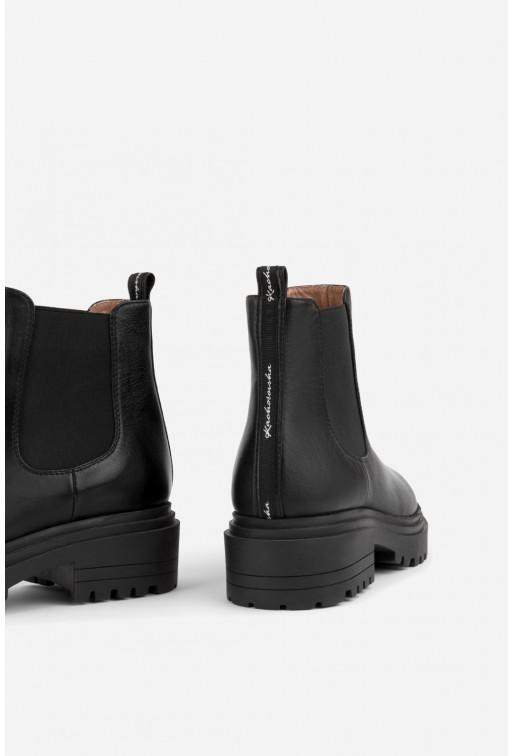 Челсі чорні шкіряні  з брендовою стрічкою
