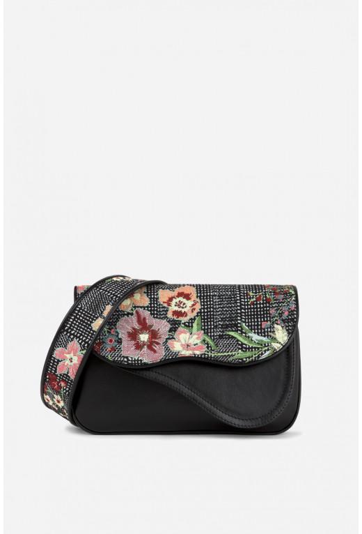 Кросбаді Saddle Bag Western Flap комбінована з вишивкою /срібло/