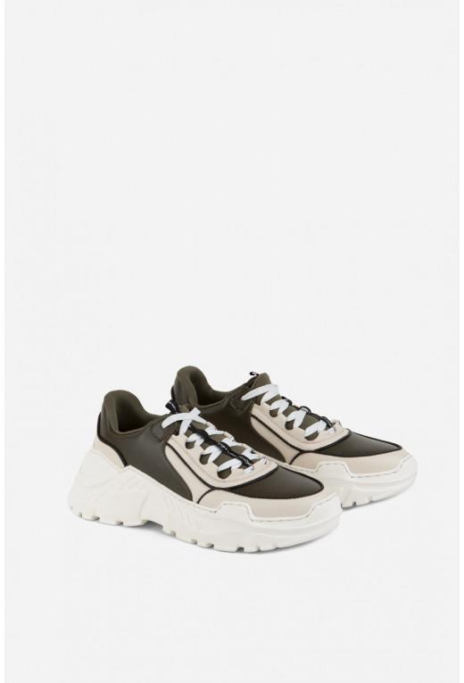 Кросівки комбіновані  оливково-бежеві шкіряні (з брендованою стрічкою)