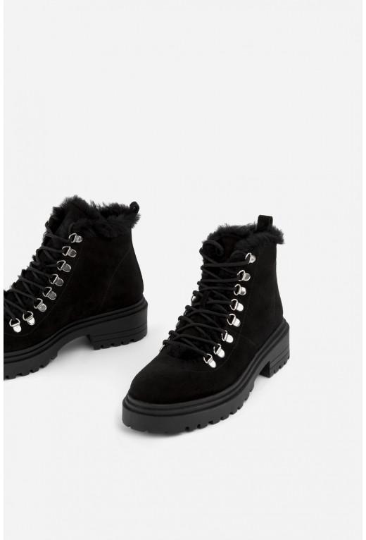 Черевики чорні замшеві на шнурівці /цигейка/