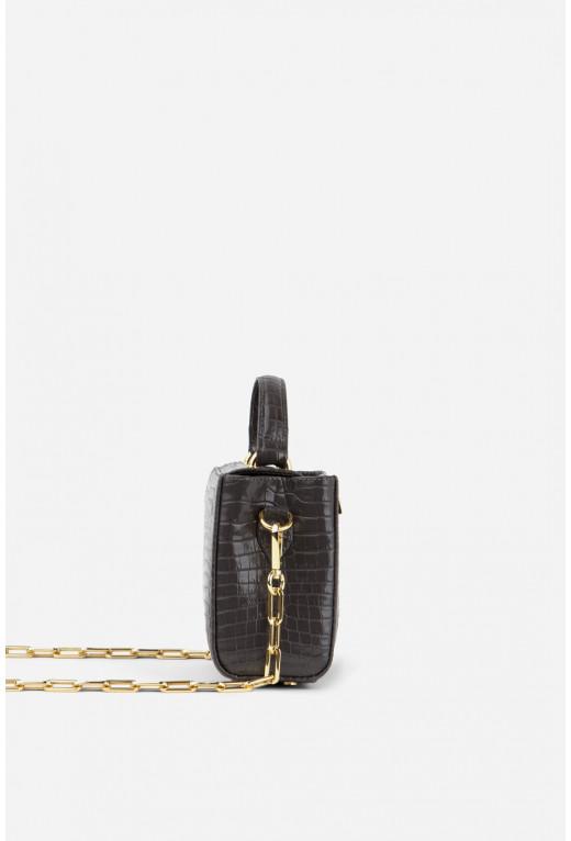 Портфель ERNA MICRO NC з сіро-коричневої тисненої шкіри /золото/