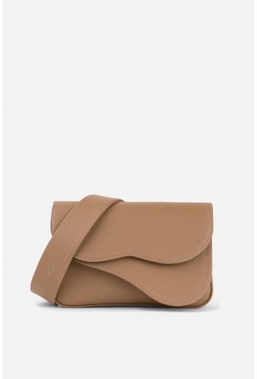 Кросбаді Saddle bag 2 з темно-бежевої гладкої шкіри /срібло/