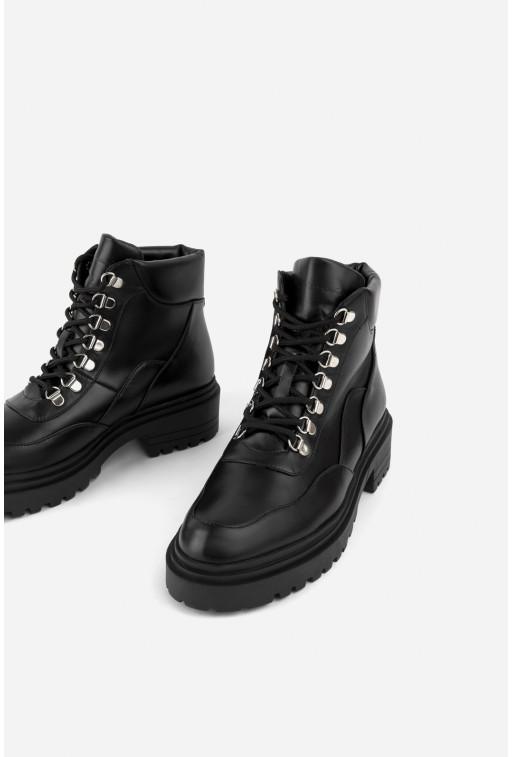 Черевики чорні шкіряні на шнурівці /хутро/