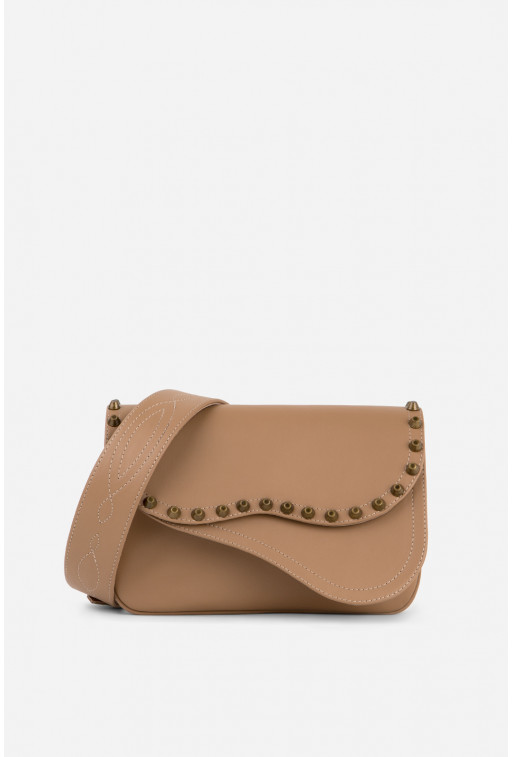 Кросбаді Saddle bag Studs з коричневої гладкої шкіри /бронза/