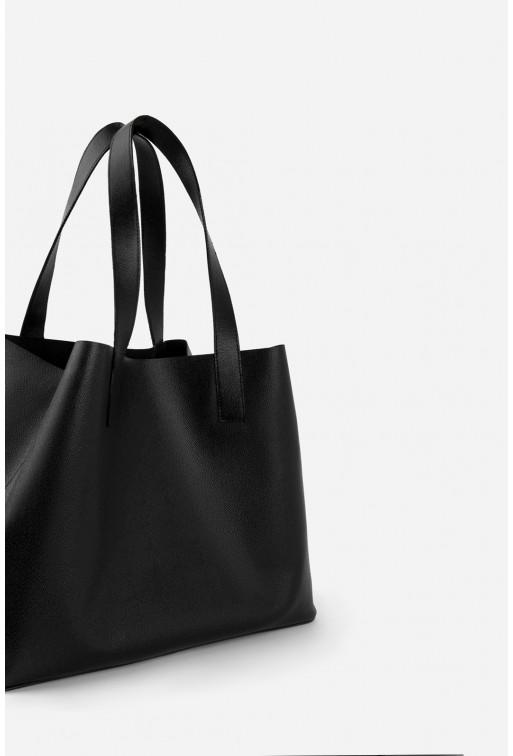SHOPPER BAG з чорної фактурної шкіри /срібло/