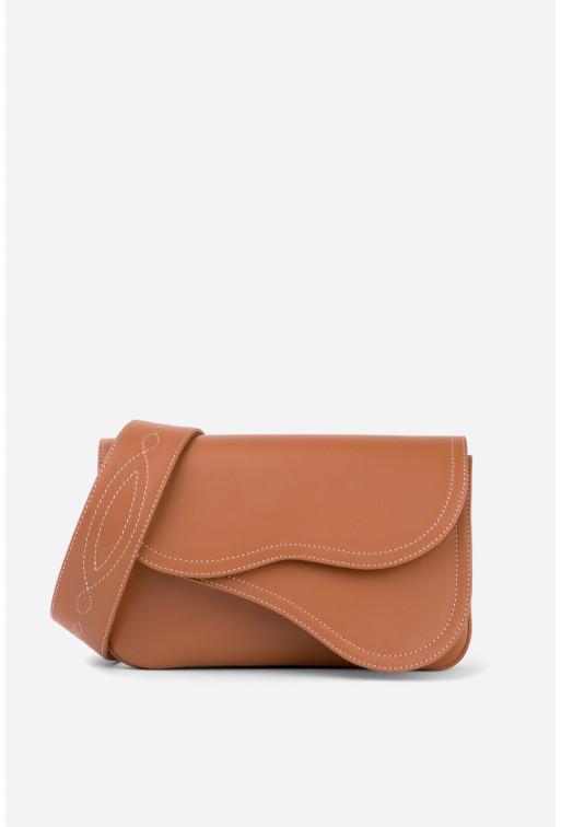 Кросбаді Saddle bag 2 з карамельної шкіри /срібло/