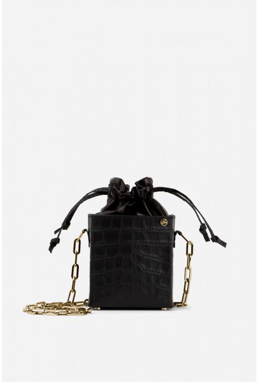 Кросбоді ROCKET BAG з чорної тисненої шкіри /золото/