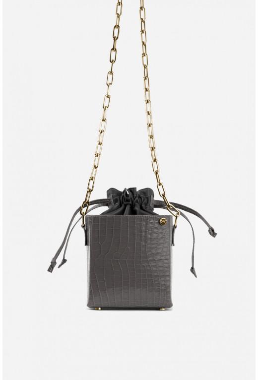 Кросбоді ROCKET BAG з сірої тисненої шкіри /золото/