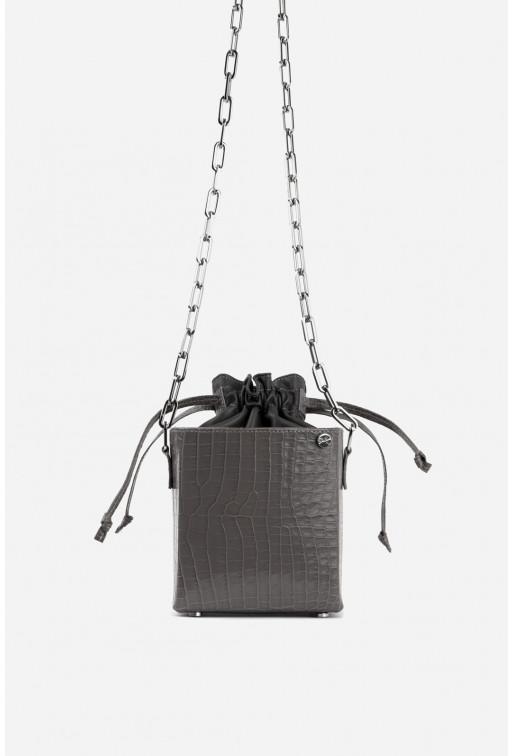 Rocket bag з сірої тисненої шкіри /срібло/
