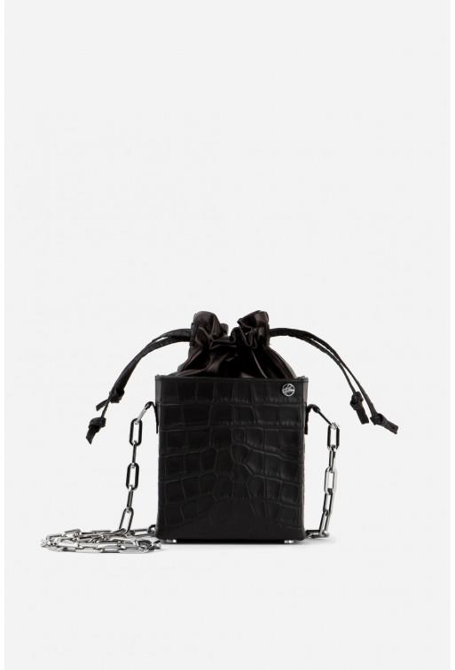 Rocket bag з чорної тисненої шкіри /срібло/