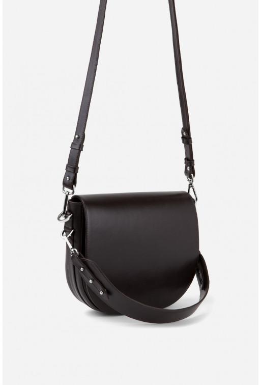 Кросбаді Saddle bag 1 з шоколадної гладкої шкіри /срібло/