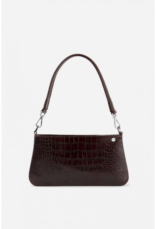 Vivian bag  з бордово-коричневої шкіри під рептилію /срібло/