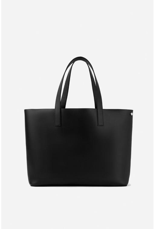 SHOPPER BAG з чорної шкіри /срібло/