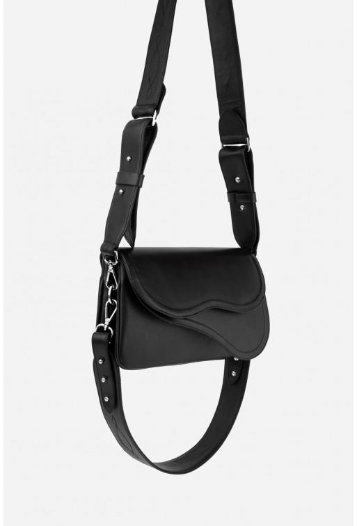 Кросбоді SADDLE BAG 2 з чорної гладкої шкіри /срібло/