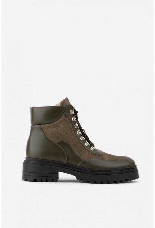 Черевики кольору хакі  на шнурівці