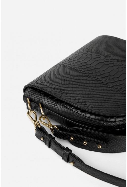Кросбаді Saddle bag 1 з чорної тисненої шкіри /золото/