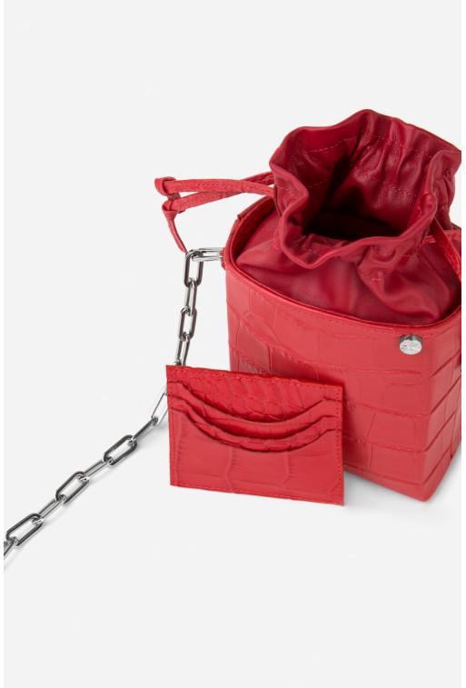 Кросбоді ROCKET BAG з червоної тисненої шкіри /срібло/
