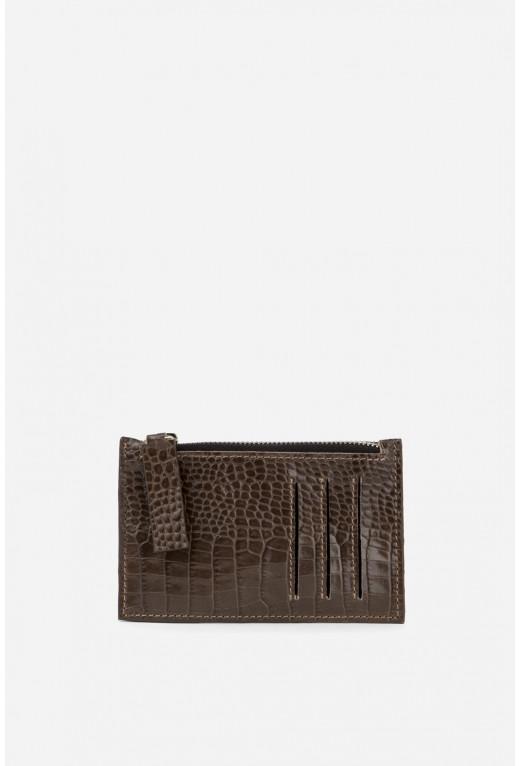 Zip Wallet з коричневої тисненої шкіри /срібло/
