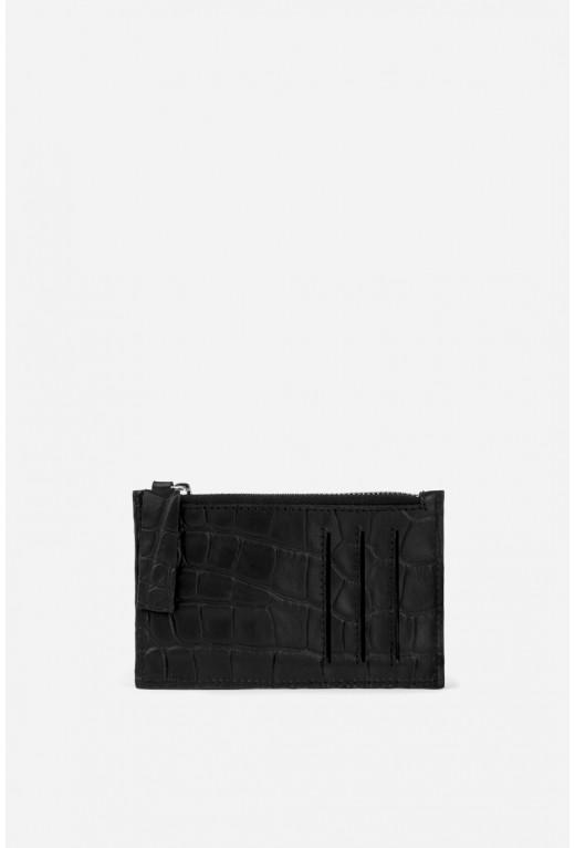 Zip Wallet з чорної тисненої шкіри /срібло/