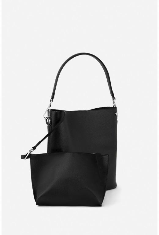 BOOK BAG з чорної фактурної шкіри /срібло/