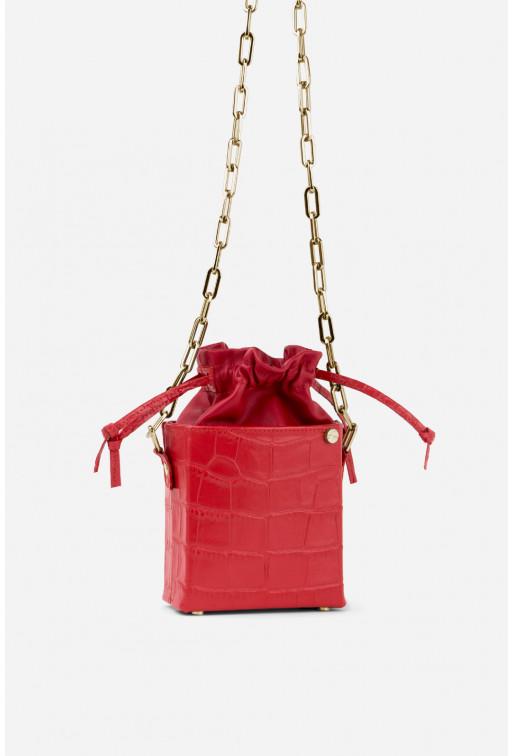 Кросбоді ROCKET BAG з червоної тисненої шкіри /золото/