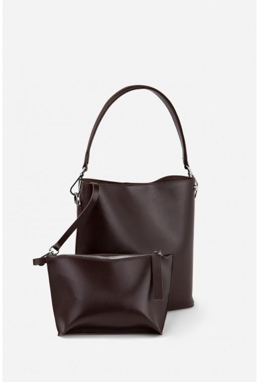 BOOK BAG з шоколадної фактурної шкіри /срібло/