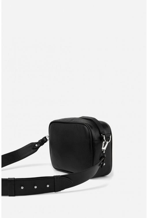 Кросбоді BRICK BAG з чорної шкіри /срібло/