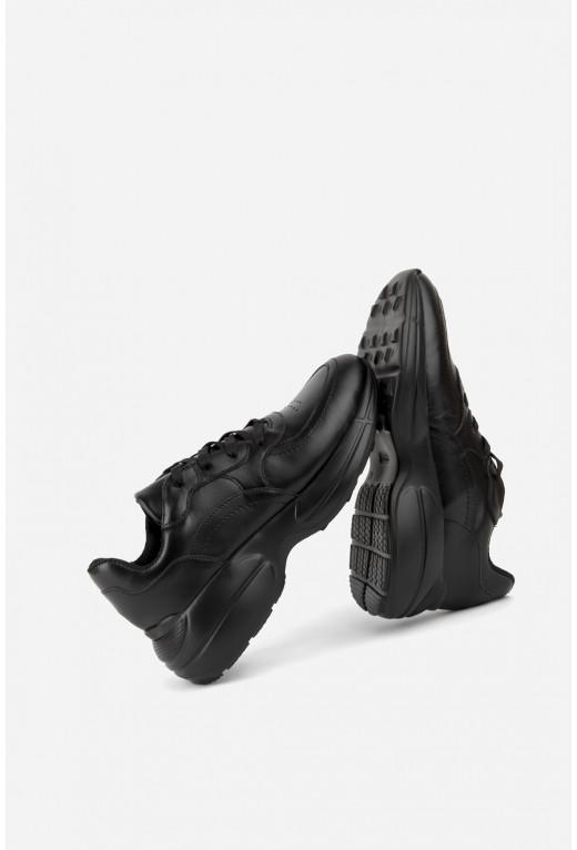 Кросівки  чорні шкіряні