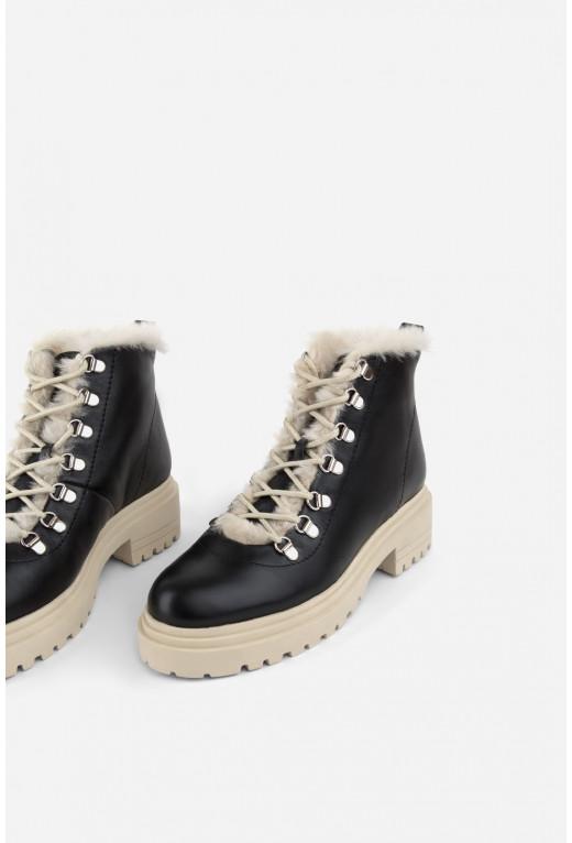 Черевики чорні шкіряні  на шнурівці /цигейка/