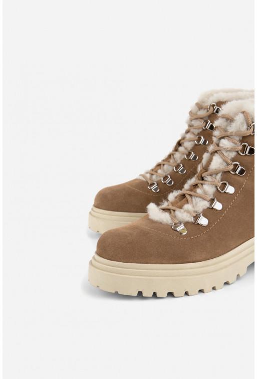 Черевики пісочно-бежеві замшеві на шнурівці /цигейка/