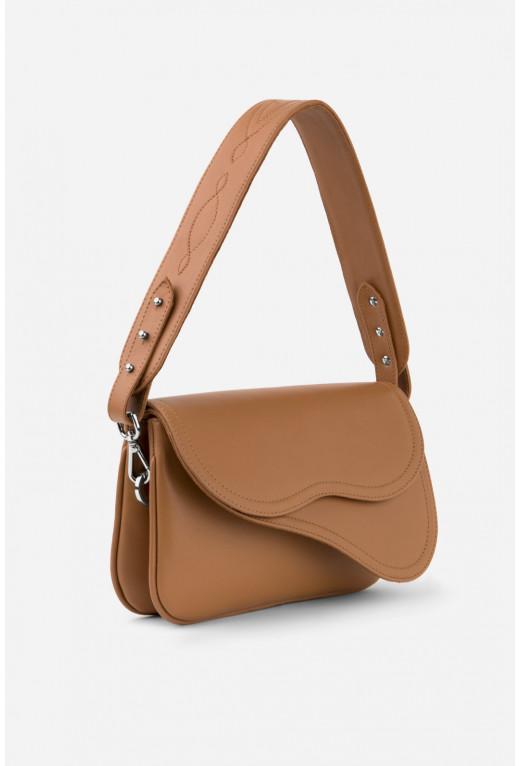 Кросбаді Saddle bag 2 з темно-карамельної гладкої шкіри /срібло/