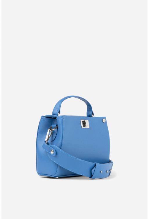 Портфель ERNA MINI з темно-синьої фактурної шкіри /срібло/