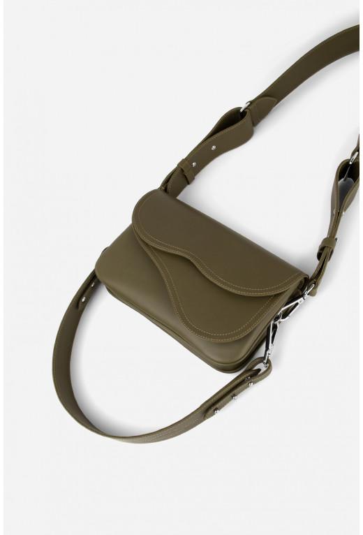 Кросбаді Saddle bag 2 з оливкової гладкої шкіри /срібло/
