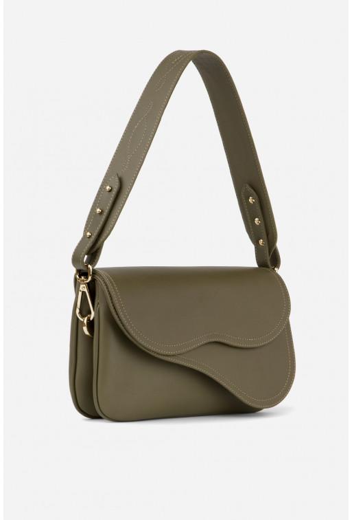 Кросбаді Saddle bag 2 з оливкової гладкої шкіри /золото/