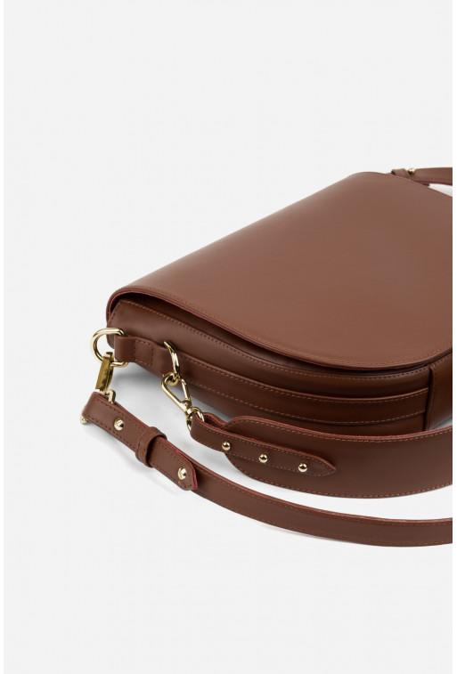 Кросбаді Saddle bag 1 з коричневої гладкої шкіри /золото/