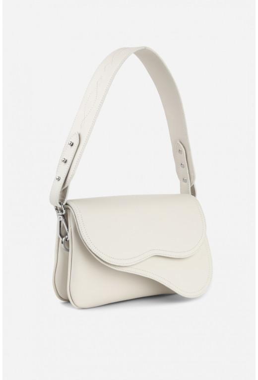 Кросбаді Saddle bag 2 з білої гладкої шкіри /срібло/
