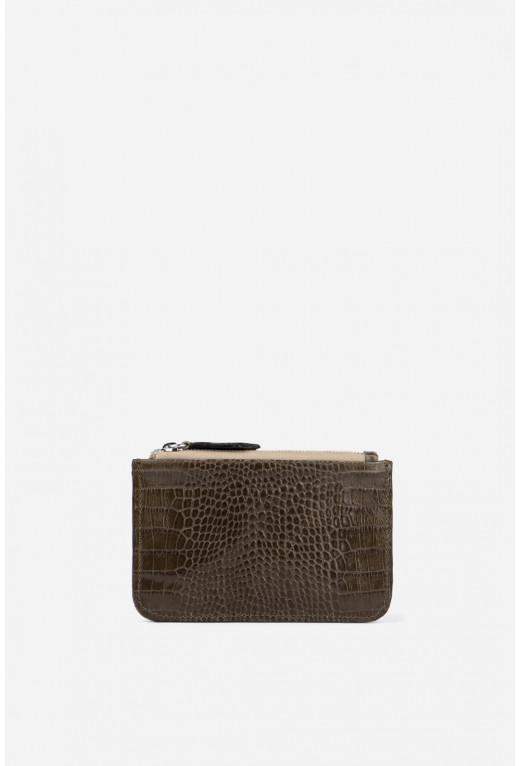 Double Zip Wallet  з сірої шкіри під рептилію /срібло/